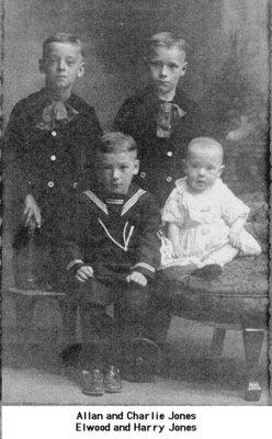 Studio portrait of Allan, Charlie, Elwood and Harry Jones
