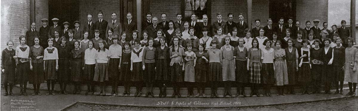Staff & pupils of Colborne High School 1922
