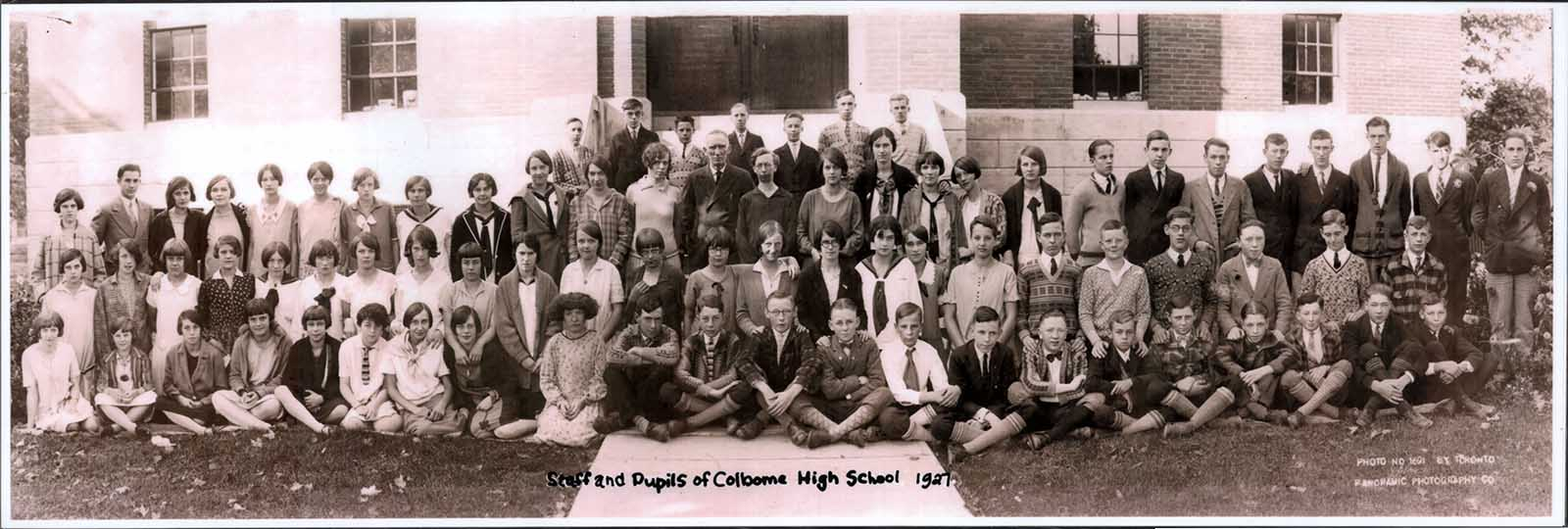 Staff and pupils of Colborne High School 1927