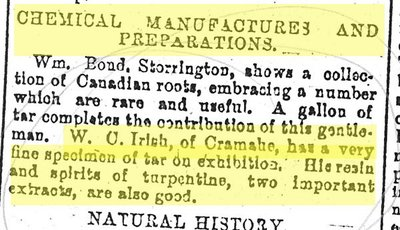 "W. C. Irish, Chemical Manufactures and Preparations, Upper Canadian Provincial Exhibition, Kingston. ""Provincial Exhibition."" The Globe, 27 September 1867 - photocopy newspaper clipping"