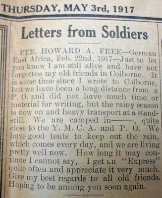 Exhibit, WWI Letters, Colborne Express, 3 May 1917, Free