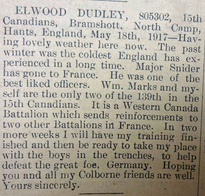 Exhibit, WWI Letters, Colborne Express, 31 May 1917, Dudley E.