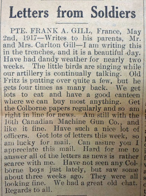 Exhibit, WWI Letters, Colborne Express, 31 May 1917, Gill