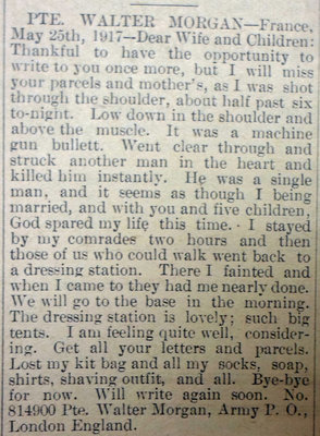Exhibit, WWI Letters, Colborne Express, 31 May 1917, Morgan