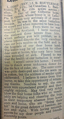 Exhibit, WWI Letters, Colborne Express, 31 May 1917, Routledge