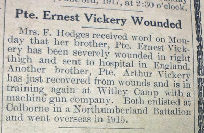 Exhibit, WWI Letters, Colborne Express, 31 May 1917, Vickery