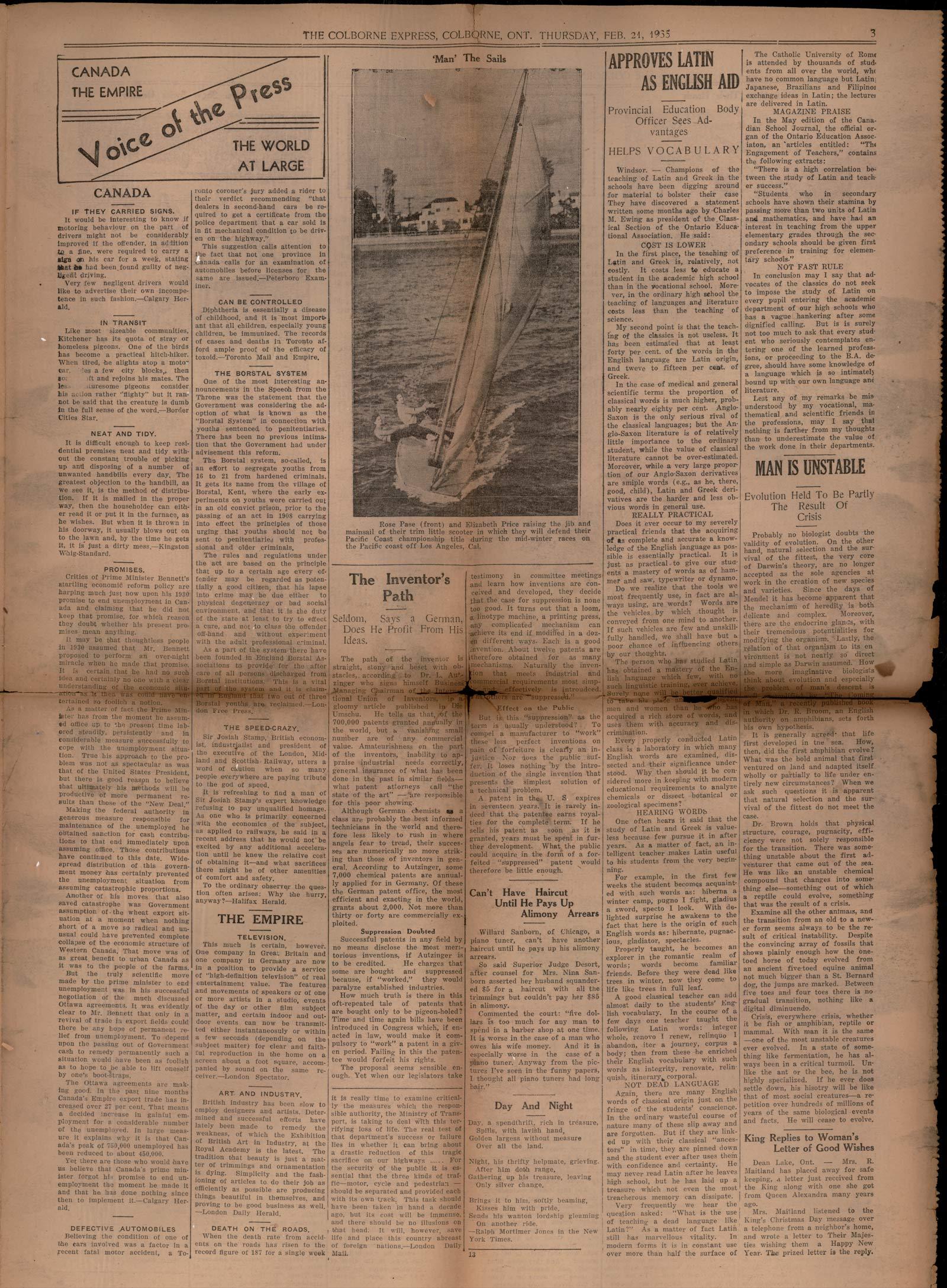 The Colborne Express  (Colborne Ontario), 21 Feb 1935