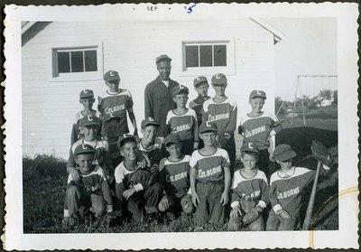 Group photograph of Colborne Baseball Team with Coach Bob Turner