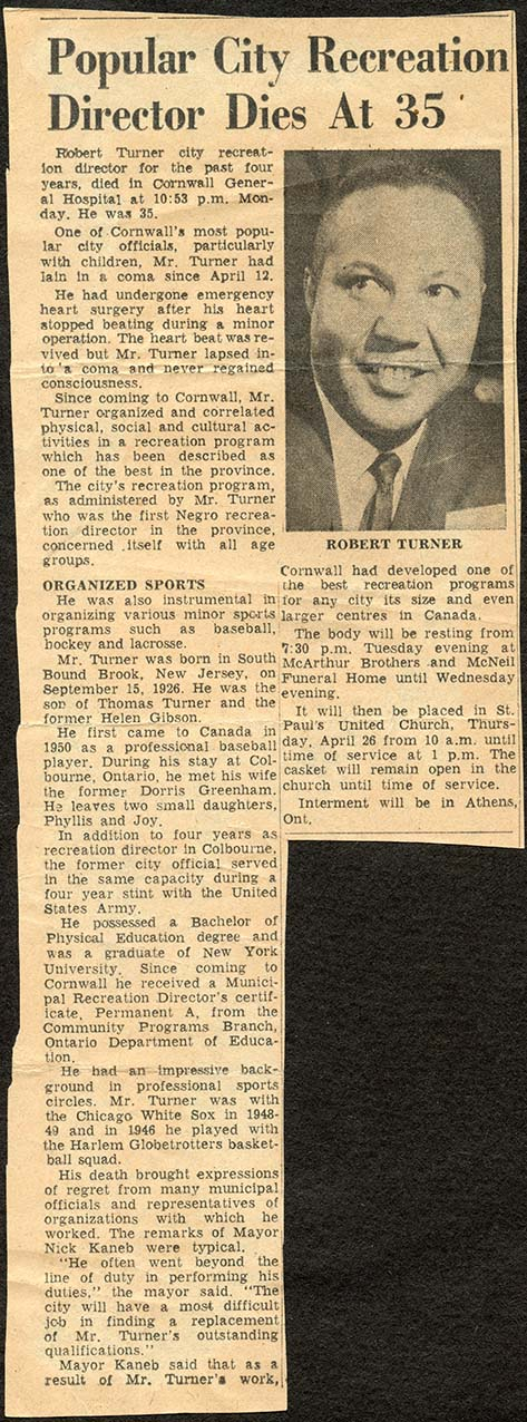 """Popular City Recreation Director Dies at 35."" Article in an unidentified newspaper. Courtesy the Cramahe Township Public Library."