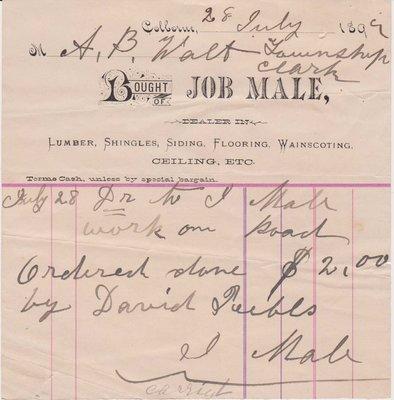 Road Maintenance Invoice, Cramahe Council Accounts, 28 July 1899