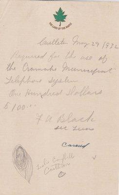 Cramahe Telephone Municipal System Invoice, 29 May 1932