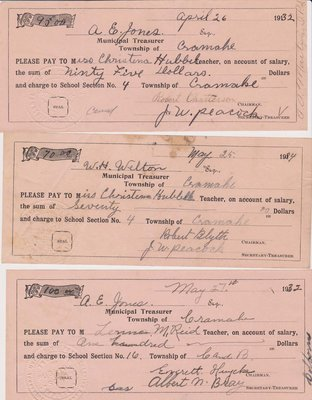 Cramahe Municipal Payments, School Salaries, 1932, 1934