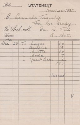 Grocery Invoice, Cramahe Council Accounts, 26 March 1932