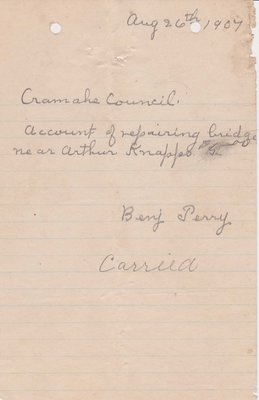 Bridge Repair Invoice, Cramahe Council Accounts, 26 August 1907