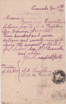 Cramahe Municipal Payments, School Salaries, 1886