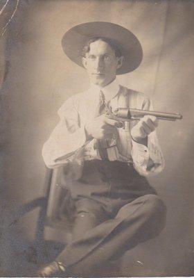 Postcard of man, studio photograph