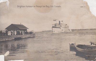 Postcard of Brighton Harbour on Presqu'isle Bay, Ont. Canada