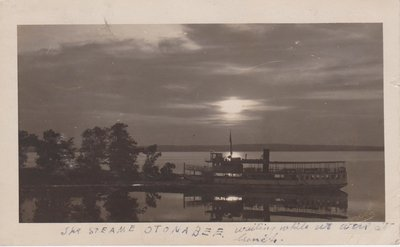 Postcard of the Otonabee steamer at night