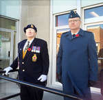 WWII Veteran Don Prentice, left, and Lt.-Col. Scott Mutton took the salute at the Remembrance Day parade, Cenotaph service, Victoria Square Park, Colborne, November 11, 2016
