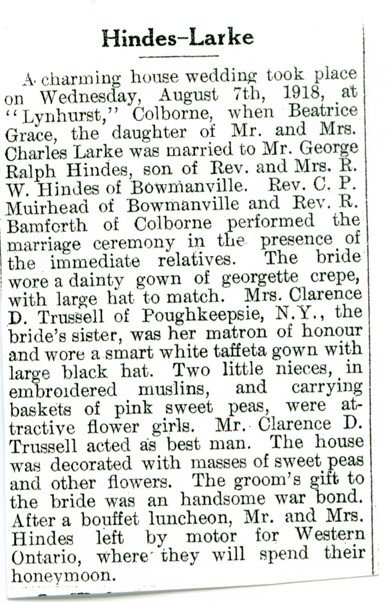 Exhibit, The Larke Family, newspaper clipping, Hindes-Larke wedding, n.d.