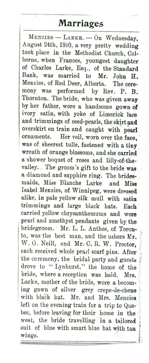 Exhibit, The Larke Family, newspaper clipping, Menzie-Larke wedding, n.d.
