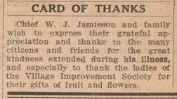 Exhibit, Chief Jamieson, Card of Thanks