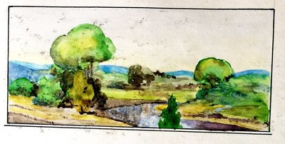 Watercolour attributed to secretary William J. Baxter, August 1929