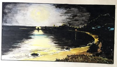 A watercolour of Victoria Beach at night, probably by Baptist Homes Association secretary William J. Baxter,  August 8, 1930 minutes.