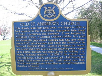 Old St. Andrew's Church, Ontario Heritage Trust – Colborne Plaques