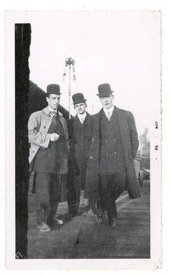Photograph of three unidentified men, 1910s, Colborne Women's Institute Scrapbook