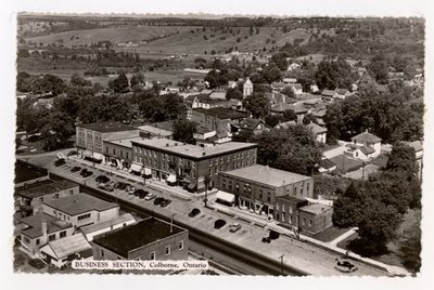 Photo postcard aerial view of King Street East, Colborne Women's Institute Scrapbook
