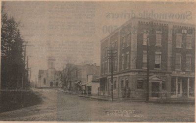 Newspaper clipping of photo postcard of Percy Street, Colborne Women's Institute Scrapbook