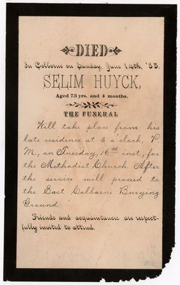 Selim Huyck Mourning Card, Colborne Women's Institute Scrapbook