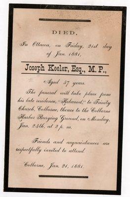 Joseph Keeler Mourning Card, Colborne Women's Institute Scrapbook