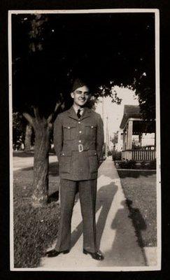 Photograph of an unidentified World War II soldier, Colborne Women's Institute Scrapbook