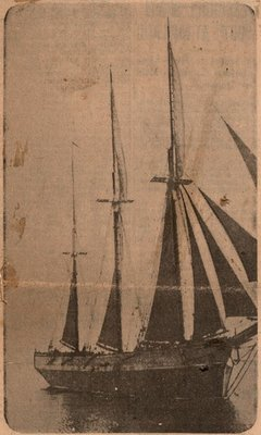 Newspaper photograph of the Oliver Mowat schooner, Colborne Women's Institute Scrapbook