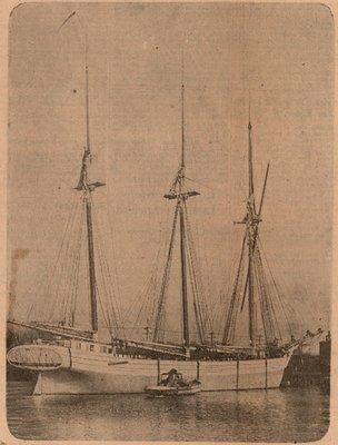 Newspaper photograph of the Emily B. Maxwell schooner, Colborne Women's Institute Scrapbook