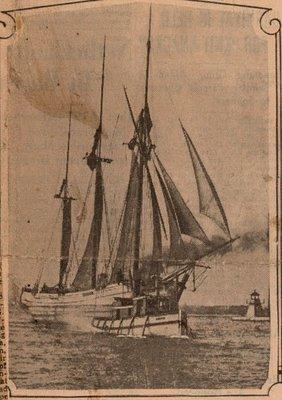 Newspaper photograph of the Arthur schooner, Colborne Women's Institute Scrapbook