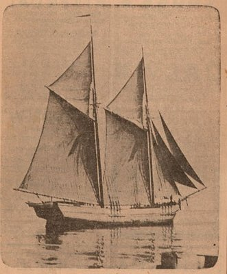 Newspaper photograph of the Trade Wind schooner, Colborne Women's Institute Scrapbook