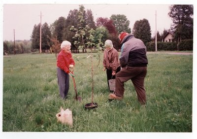 Photograph of Jessie and Roy Hay with Amy Gresham planting a tree in honour of Ellen MacGregor, 1993, Colborne Women's Institute Scrapbook