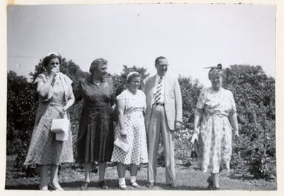 Photograph of Mrs. Myles, Mrs. McLaughlin, Miss Margaret Mackie, Dr. Robertson and Mrs. A. Mackie, July 1955 trip to Ottawa, Colborne Women's Institute Scrapbook