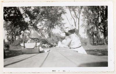 Photograph of Colborne Women's Institute members, July 1955 picnic at Percy Boom, Colborne Women's Institute Scrapbook