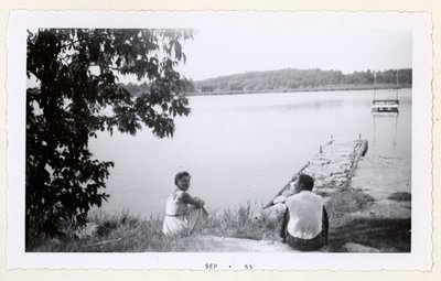 Photograph of Mrs. Gresham, July 1955 picnic at Percy Boom, Colborne Women's Institute Scrapbook