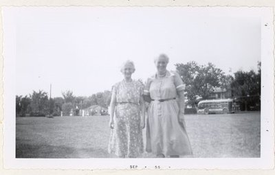 Photograph of Mrs. Dave Harnden and Mrs. Campbell, July 1955 picnic at Percy Boom, Colborne Women's Institute Scrapbook