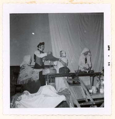 Photograph of Mrs. McLaughlin, Noel Roseblade, Maggie Mackie and Ellen MacGregor in a skit by the Colborne Women's Institute, Colborne Women's Institute Scrapbook