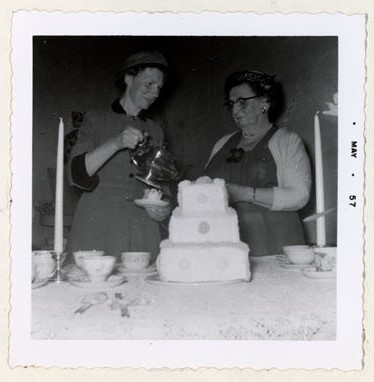Photograph of Mrs. Gordon MacGregor and Mrs. S.J. Cox, Colborne Women's Institute Scrapbook