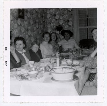 Photograph of Mrs. Screaton, Miss Graham, Amy Gresham, Mary Jane Popcock, Mrs. McLaughlin and Mrs. VanRoon, 1958 Annual Meeting, Colborne Women's Institute Scrapbook