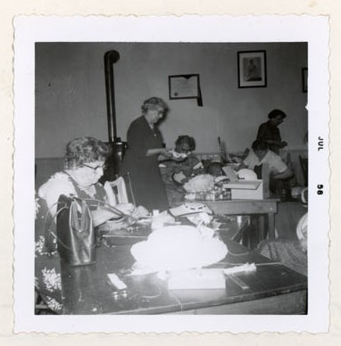 Photograph of Goldie Cox, Mae Honey, Hattie McLaughlin, Mrs. Adams and Miss Milligan, Colborne Women's Institute Scrapbook