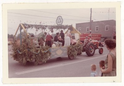 Photograph of Colborne Women's Institute Float, 1959 Colborne Centennial Parade, Colborne Women's Institute Scrapbook