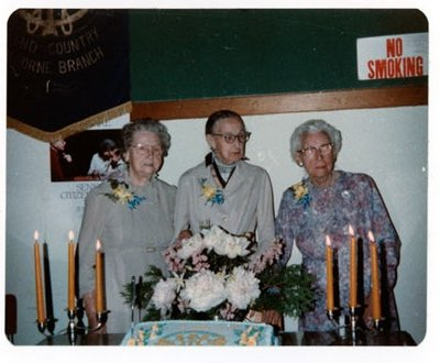 Photograph of Alberta Dyer, Gertrude Bradford and Grace Rutherford, 50th Anniversary, Colborne Women's Institute, Colborne Women's Institute Scrapbook
